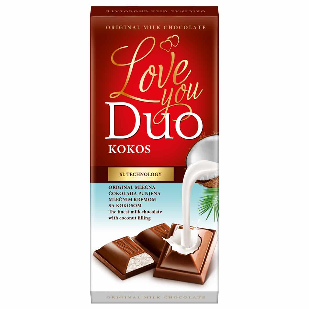 Duo čokolada sa filom od kokosa 80g