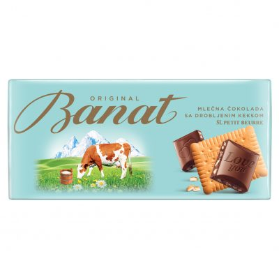 Original Banat mlečna čokolada sa drobljenim keksom 90g