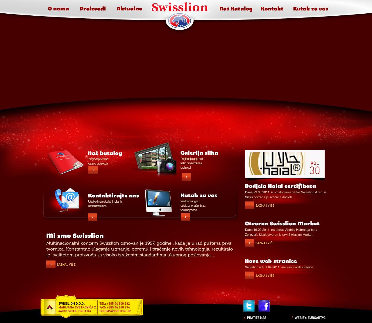 Hrvatski sajt kompanije Swisslion Takovo